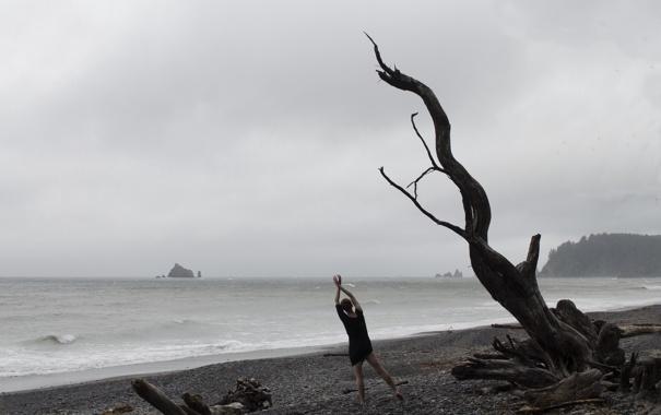 Фото обои море, девушка, дерево