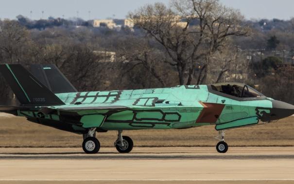 Фото обои истребитель, бомбардировщик, аэродром, Lightning II, F-35A
