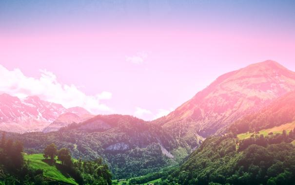 Фото обои лес, альпийская поляна, деревья, солнце, by mike pro, горы, небо