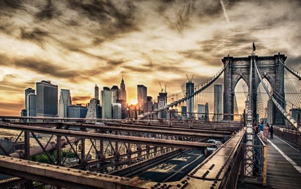Фото обои закат, мост, город, HDR