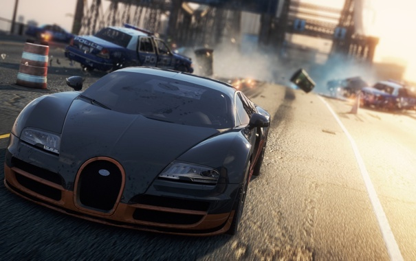Фото обои авария, гонка, полиция, погоня, Bugatti Veyron Super Sport, need for speed most wanted 2