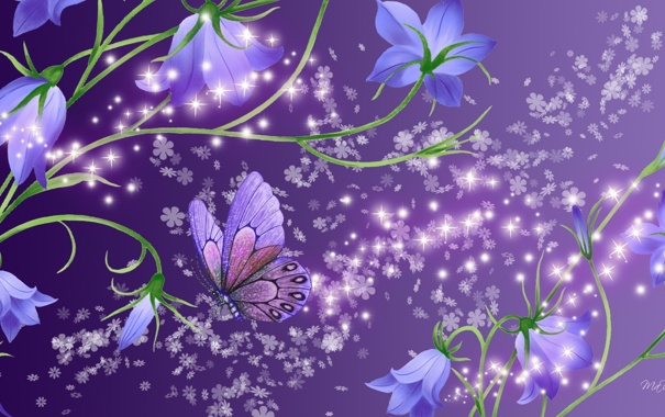 Фото обои цветы, бабочка, колокольчики