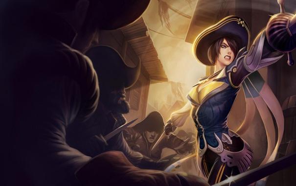 Фото обои девушка, пират, сабля, league of legends