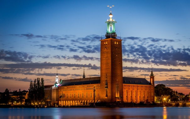 Фото обои море, небо, облака, огни, дом, вечер, Стокгольм