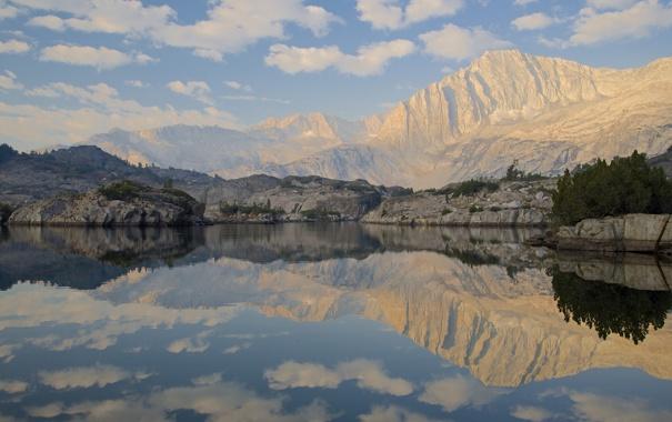 Фото обои небо, горы, озеро, отражение, камни, Йосемити, национальный парк