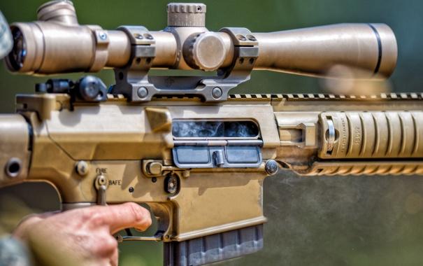 Фото обои smoke, charger, rifle, scope, Brown, assault