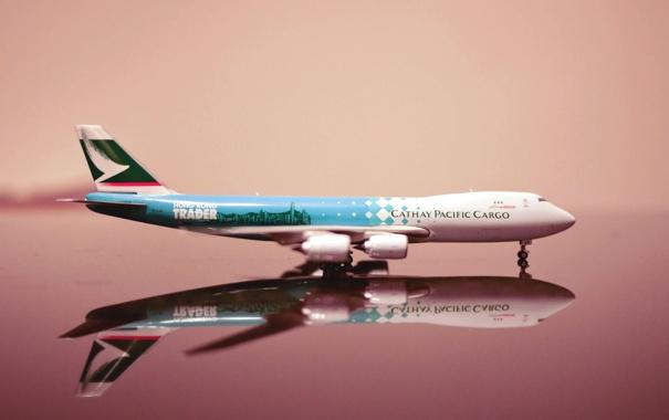 Фото обои Самолет, Модель, Крылья, Boeing, Авиация, 747, Cathay Pacific