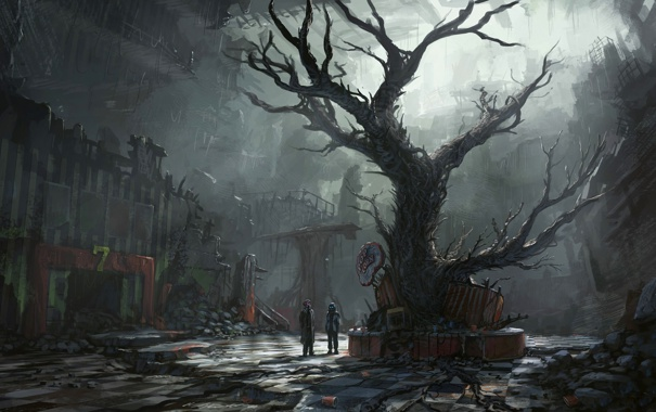 Фото обои руины, сумрак, romantically apocalyptic, арт, романтика апокалипсиса, лианы, дерево