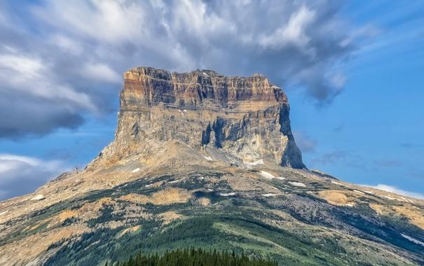 Фото обои небо, облака, скала, гора