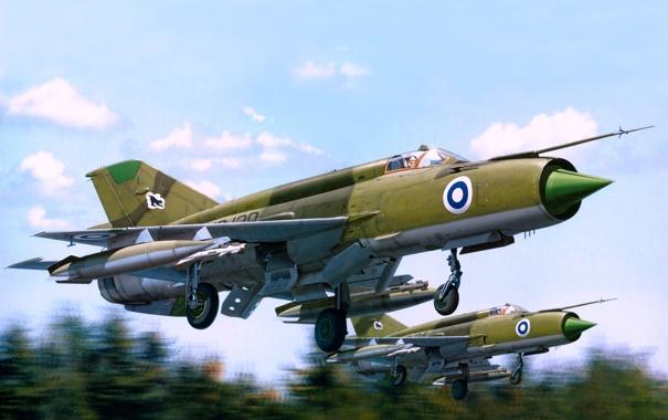 Фото обои арт, пара, взлёт, истребители-перехватчики, МиГ-21бис, фронтовые