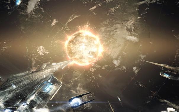 Фото обои поверхность, планета, атмосфера, ядро, континенты, Космические корабли