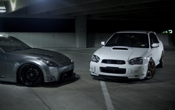 Фото обои Subaru, Impreza, серебристый, WRX, белая, Nissan, white