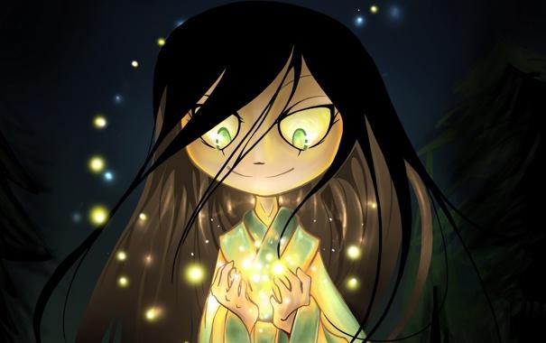 Фото обои глаза, свет, волосы, блеск, руки, Девочка