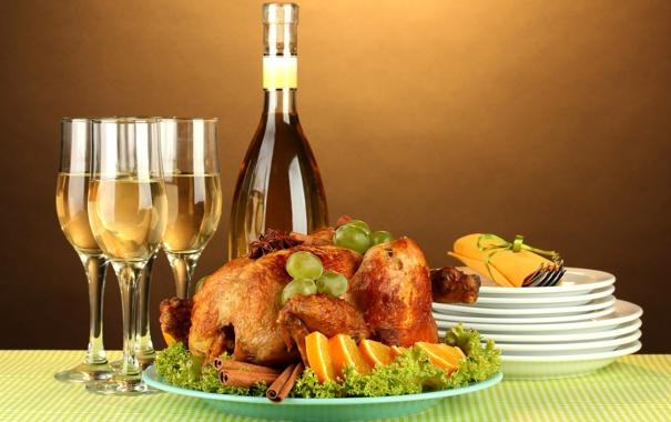 Фото обои стол, вино, белое, апельсин, еда, курица, бокалы