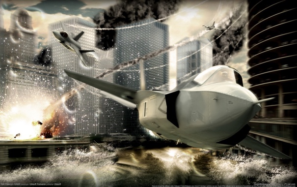 Фото обои город, самолёты, tom clancy hawx
