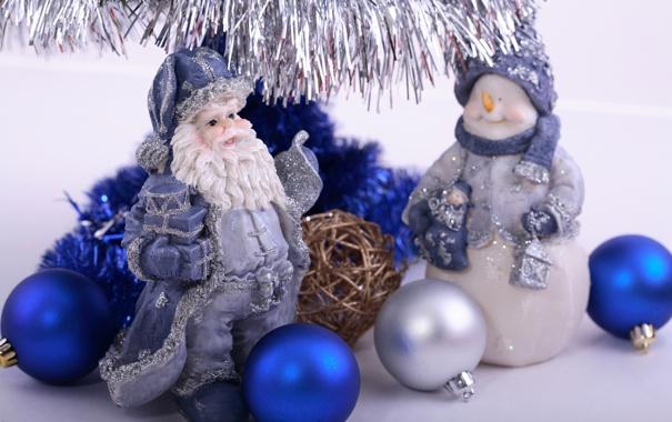 Фото обои синий, шары, серебряный, мишура, Дед Мороз, Снеговик