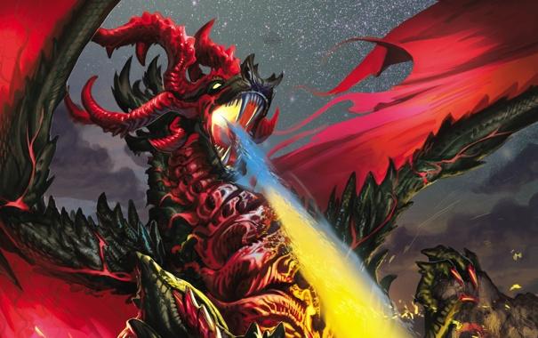 Фото обои Дракон, Пламя, Dragon, Дыхание