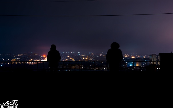 Фото обои крыша, ночь, city, город, люди, night, people