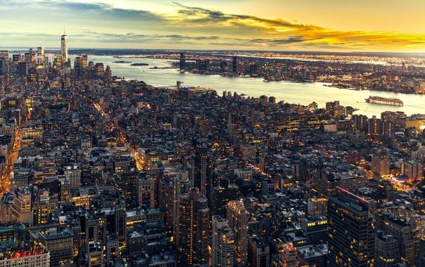 Фото обои здания, Нью-Йорк, панорама, Манхэттен, небоскрёбы, Manhattan, New York City