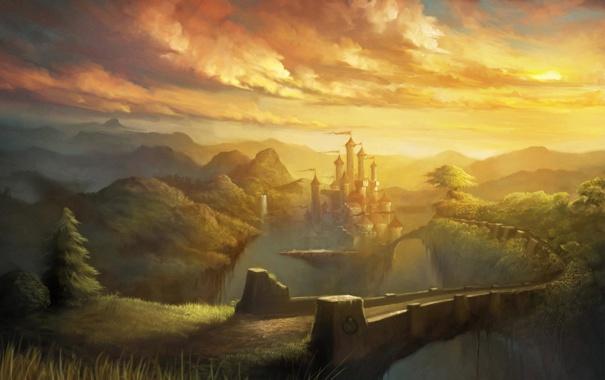 Фото обои облака, пейзаж, мост, замок