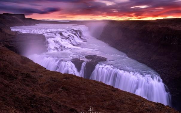 Фото обои облака, водопад, Исландия, photographer, Kenji Yamamura