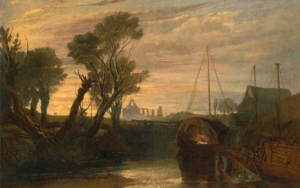 Фото обои деревья, пейзаж, река, лодка, картина, Уильям Тёрнер, Аббатство Ньюарк