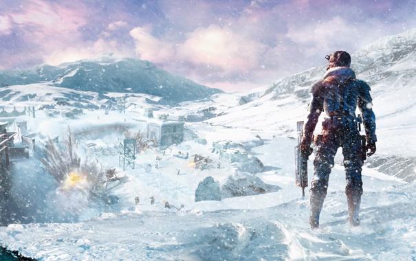 Фото обои небо, снег, взрыв, база, автомат, Capcom, Уэйн