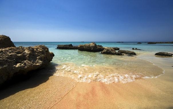 Фото обои песок, море, пляж, лето, небо, камни, берег