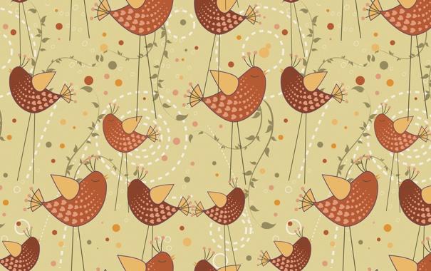 Фото обои птицы, фон, вектор, текстура, арт, птичка