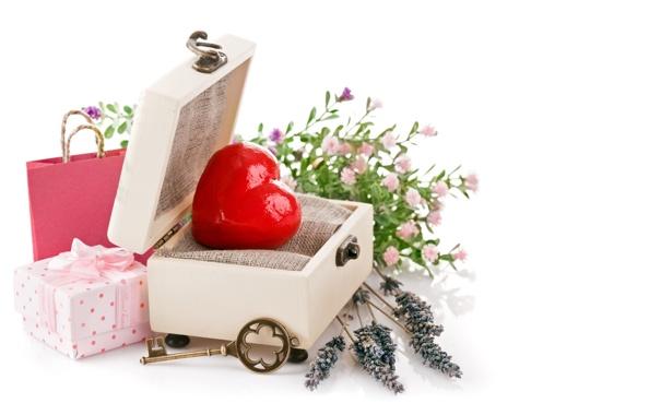 Фото обои любовь, цветы, сердце, ключ