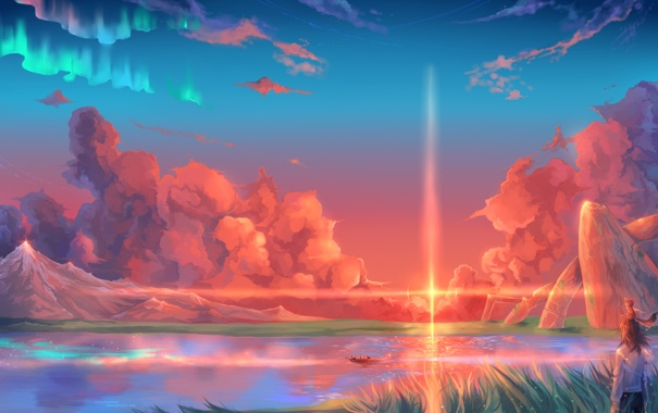 Фото обои трава, солнце, облака, горы, река, лодка, человек