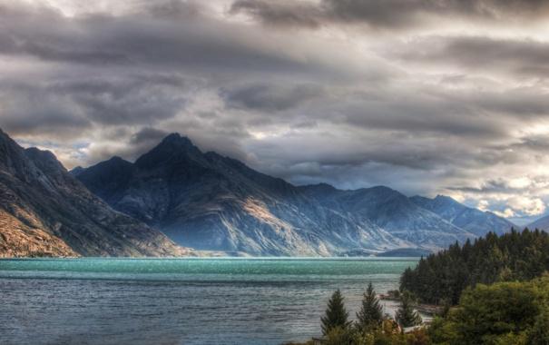Фото обои небо, деревья, озеро, Горы