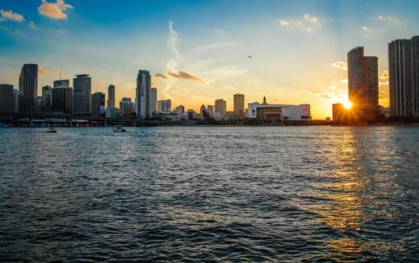 Фото обои Закат, Вода, Дома, Майами, Флорида, Здания, США