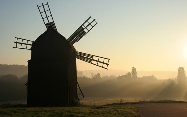 Фото обои поле, мельница, музей, Украина, Киев, вітряк, Пирогово