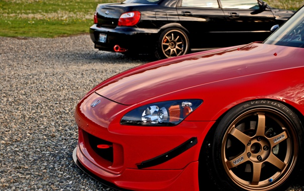 Фото обои Subaru, Impreza, чёрная, red, Honda, black, красная