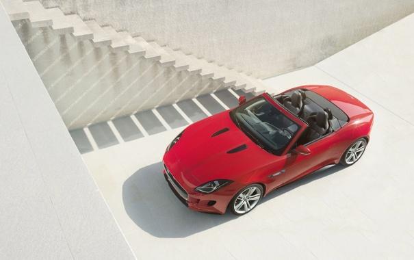 Фото обои красный, фон, Jaguar, Ягуар, ступеньки, родстер, передок