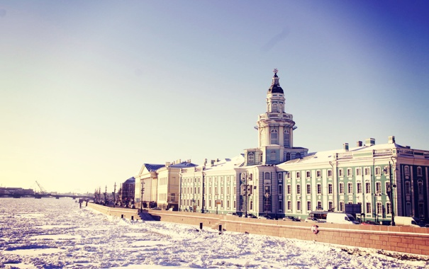 Фото обои зима, снег, река, Питер, Санкт-Петербург, Россия, Russia