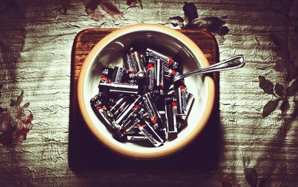 Фото обои ложка, Тарелка, батарейки, energizer