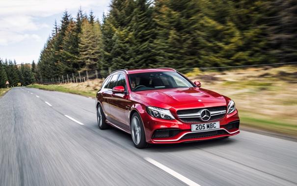Фото обои Mercedes, мерседес, AMG, амг, C 63, UK-spec, Estate