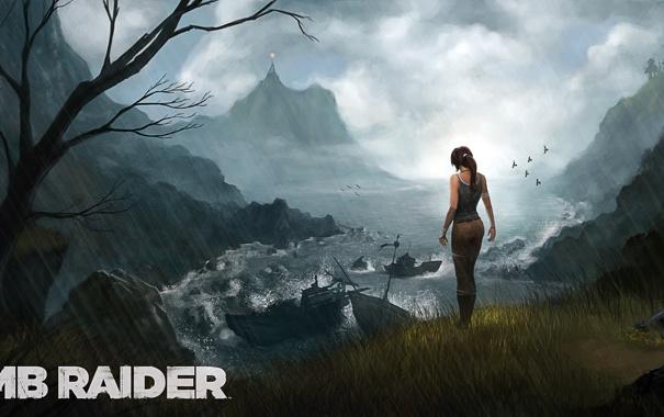 Фото обои девушка, дождь, скалы, арт, Tomb Raider, Лара Крофт, Lara Croft