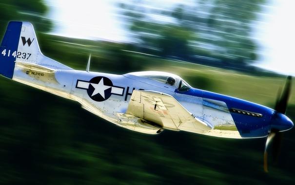 Фото обои самолет, блеск, скорость, Mustang, мустанг, истребитель, P-51