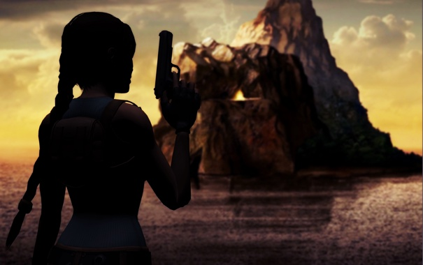 Фото обои море, небо, девушка, облака, скала, пистолет, оружие