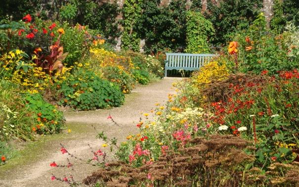 Фото обои дорожка, трава, солнце, лавочка, кусты, скамейка, сад