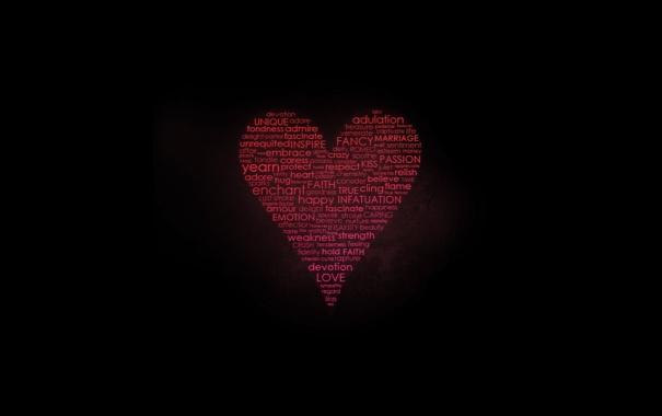 Фото обои буквы, сердце, типографика, слова