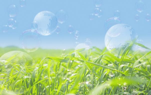 Фото обои зелень, небо, трава, пузыри, мыло, мыльные