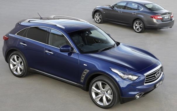 Фото обои синий, M30d, передок, Infiniti, кроссовер, FX30d S, вид сзади