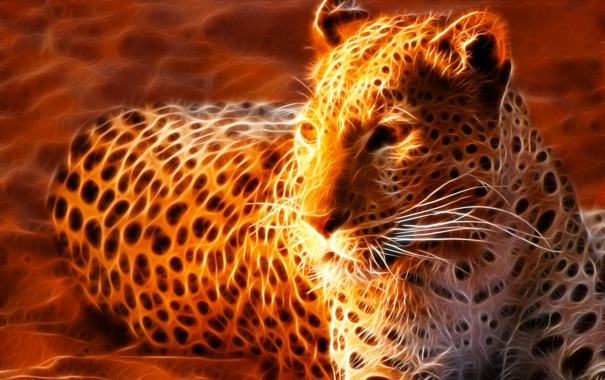 Фото обои песок, пятна, леопард, лежит, огненный
