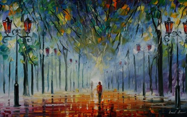 Фото обои деревья, люди, картина, фонари, Colours of winter, леонид афремов
