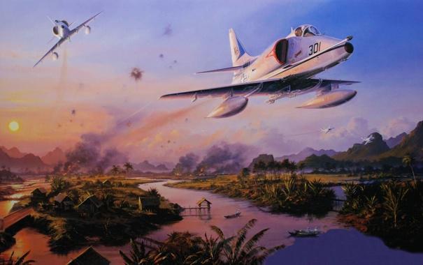 Фото обои рисунок, поля, арт, пара, полёт, штурмовик, вьетнам