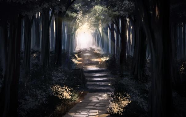 Фото обои дорога, лес, деревья, арт, лестница, нарисованный пейзаж